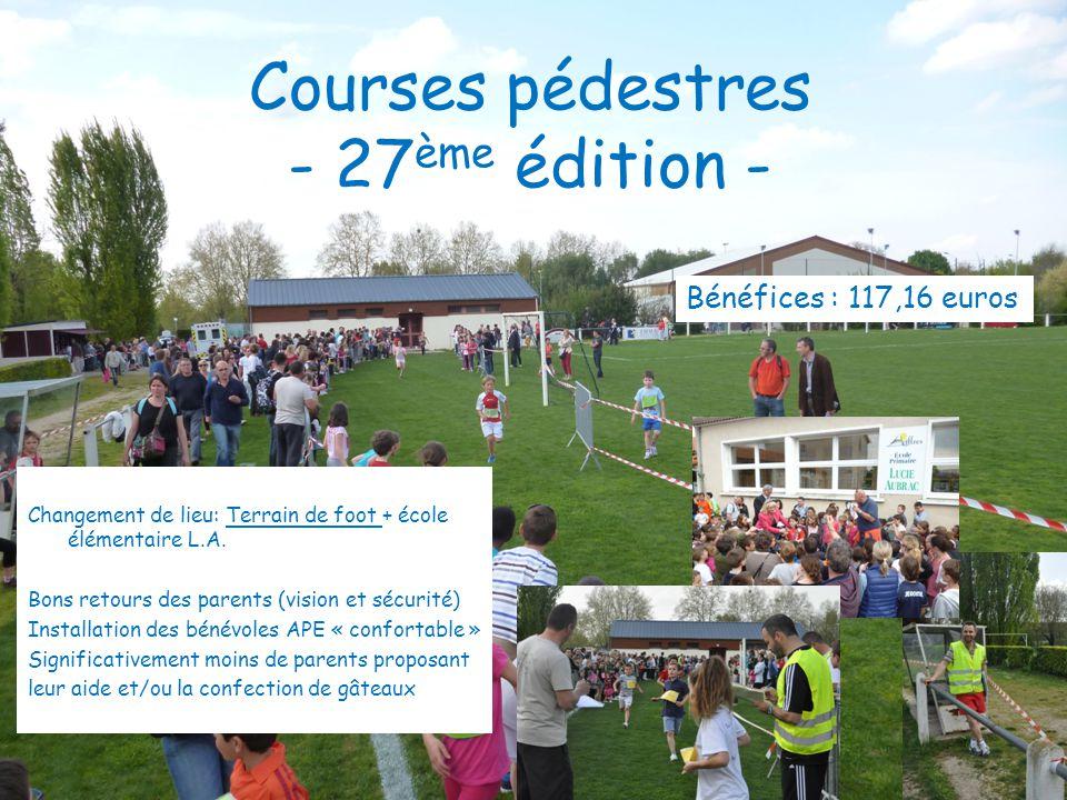 Courses pédestres - 27 ème édition - Changement de lieu: Terrain de foot + école élémentaire L.A. Bons retours des parents (vision et sécurité) Instal