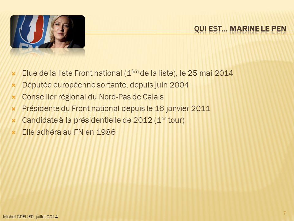 Michel GRELIER, juillet 2014  Elue de la liste Front national (1 ère de la liste), le 25 mai 2014  Députée européenne sortante, depuis juin 2004  Conseiller régional du Nord-Pas de Calais  Présidente du Front national depuis le 16 janvier 2011  Candidate à la présidentielle de 2012 (1 er tour)  Elle adhéra au FN en 1986 7
