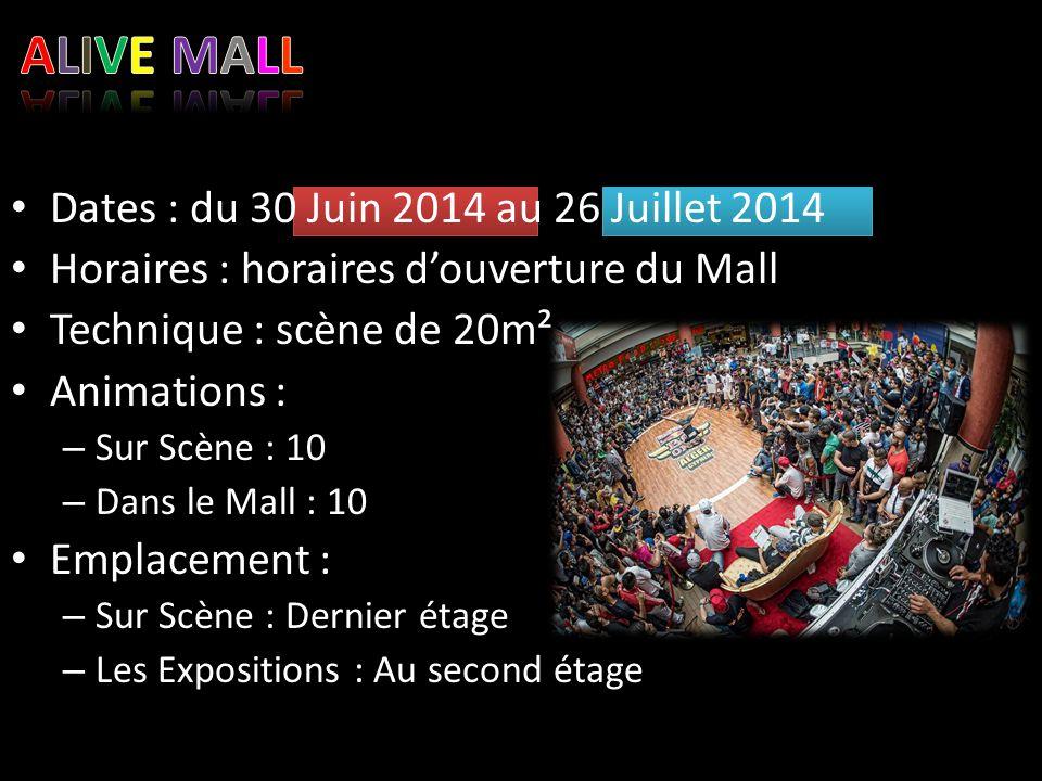 Dates : du 30 Juin 2014 au 26 Juillet 2014 Horaires : horaires d'ouverture du Mall Technique : scène de 20m² Animations : – Sur Scène : 10 – Dans le M