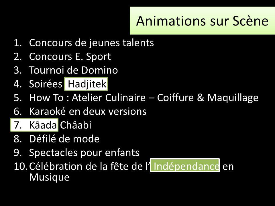 Animations sur Scène 1.Concours de jeunes talents 2.Concours E. Sport 3.Tournoi de Domino 4.Soirées Hadjitek 5.How To : Atelier Culinaire – Coiffure &