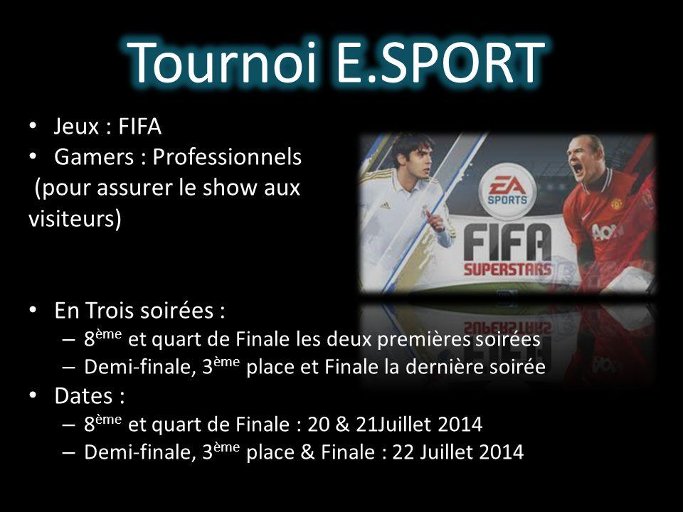 Jeux : FIFA Gamers : Professionnels (pour assurer le show aux visiteurs) En Trois soirées : – 8 ème et quart de Finale les deux premières soirées – De