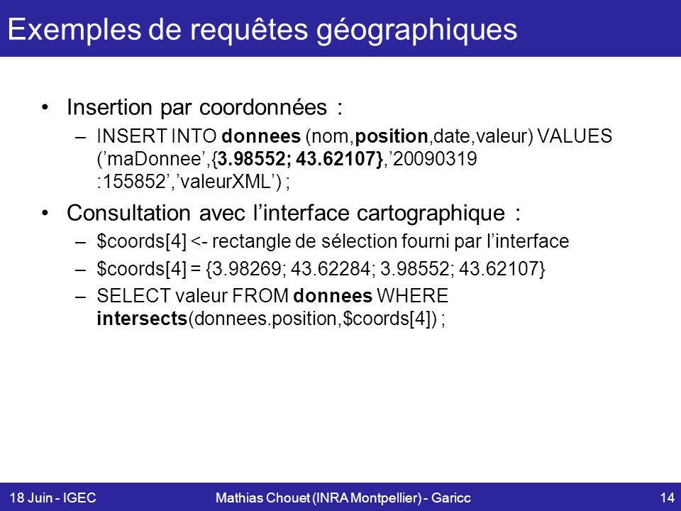 18 Juin - IGECMathias Chouet (INRA Montpellier) - Garicc14 Exemples de requêtes géographiques Insertion par coordonnées : –INSERT INTO donnees (nom,po