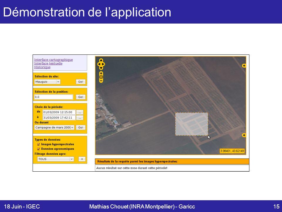 18 Juin - IGECMathias Chouet (INRA Montpellier) - Garicc15 Démonstration de l'application