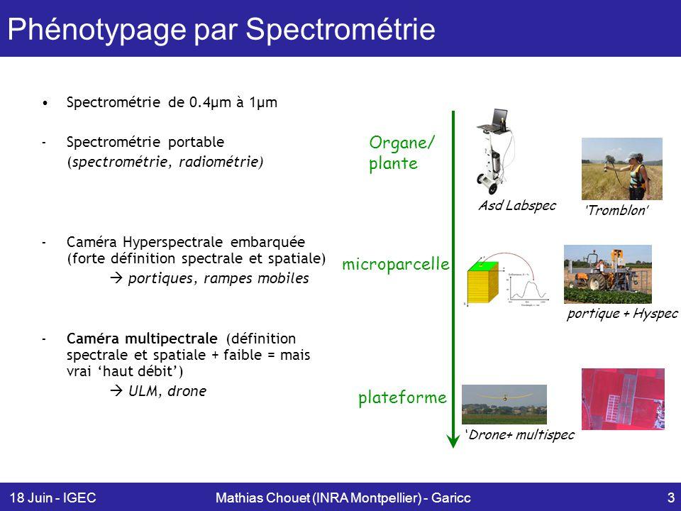 18 Juin - IGECMathias Chouet (INRA Montpellier) - Garicc4 Imagerie hyperspectrale Analyse réflectance du spectre : –Plusieurs modèles mathématiques (chimiométrie) –Phénotypes élaborés: Évolution de teneur en protéines, en carotène, etc… Une image = une parcelle agricole.