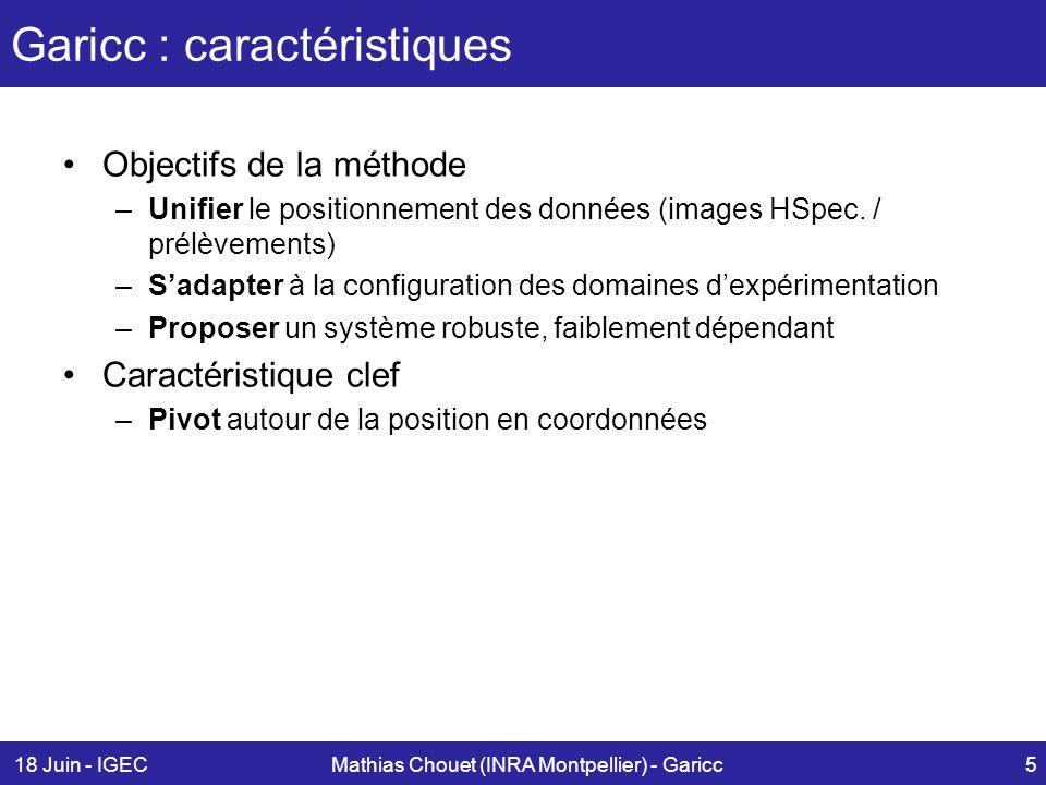 18 Juin - IGECMathias Chouet (INRA Montpellier) - Garicc5 Garicc : caractéristiques Objectifs de la méthode –Unifier le positionnement des données (im