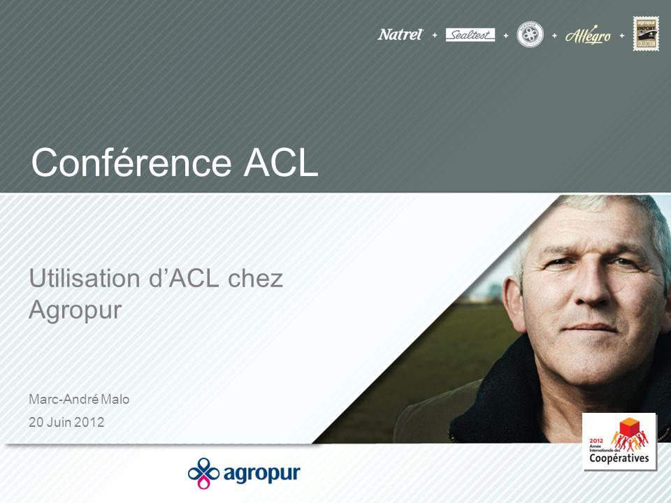 Marc-André Malo 20 Juin 2012 Conférence ACL Utilisation d'ACL chez Agropur