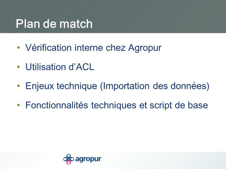 Plan de match Vérification interne chez Agropur Utilisation d'ACL Enjeux technique (Importation des données) Fonctionnalités techniques et script de b