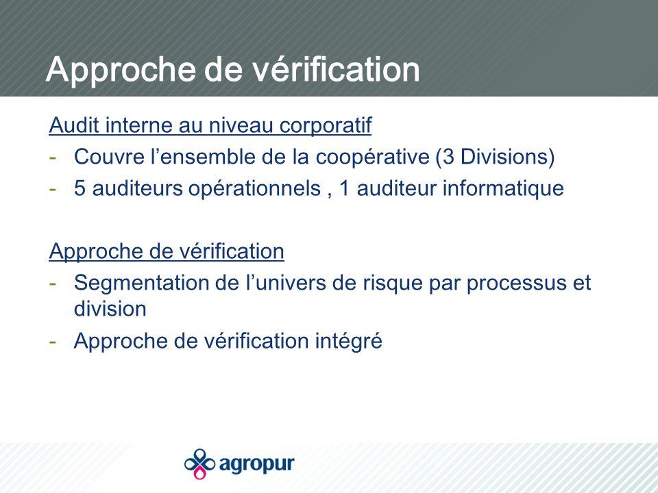 Approche de vérification Audit interne au niveau corporatif -Couvre l'ensemble de la coopérative (3 Divisions) -5 auditeurs opérationnels, 1 auditeur informatique Approche de vérification -Segmentation de l'univers de risque par processus et division -Approche de vérification intégré