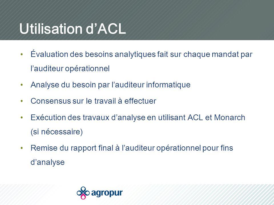 Utilisation d'ACL Évaluation des besoins analytiques fait sur chaque mandat par l'auditeur opérationnel Analyse du besoin par l'auditeur informatique Consensus sur le travail à effectuer Exécution des travaux d'analyse en utilisant ACL et Monarch (si nécessaire) Remise du rapport final à l'auditeur opérationnel pour fins d'analyse