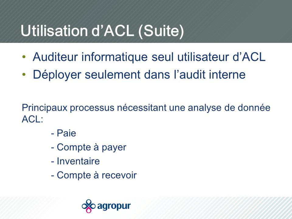Utilisation d'ACL (Suite) Auditeur informatique seul utilisateur d'ACL Déployer seulement dans l'audit interne Principaux processus nécessitant une analyse de donnée ACL: - Paie - Compte à payer - Inventaire - Compte à recevoir