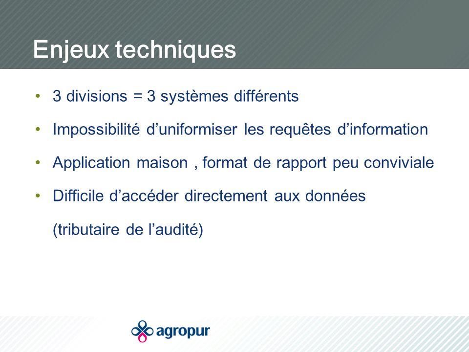 Enjeux techniques 3 divisions = 3 systèmes différents Impossibilité d'uniformiser les requêtes d'information Application maison, format de rapport peu conviviale Difficile d'accéder directement aux données (tributaire de l'audité)