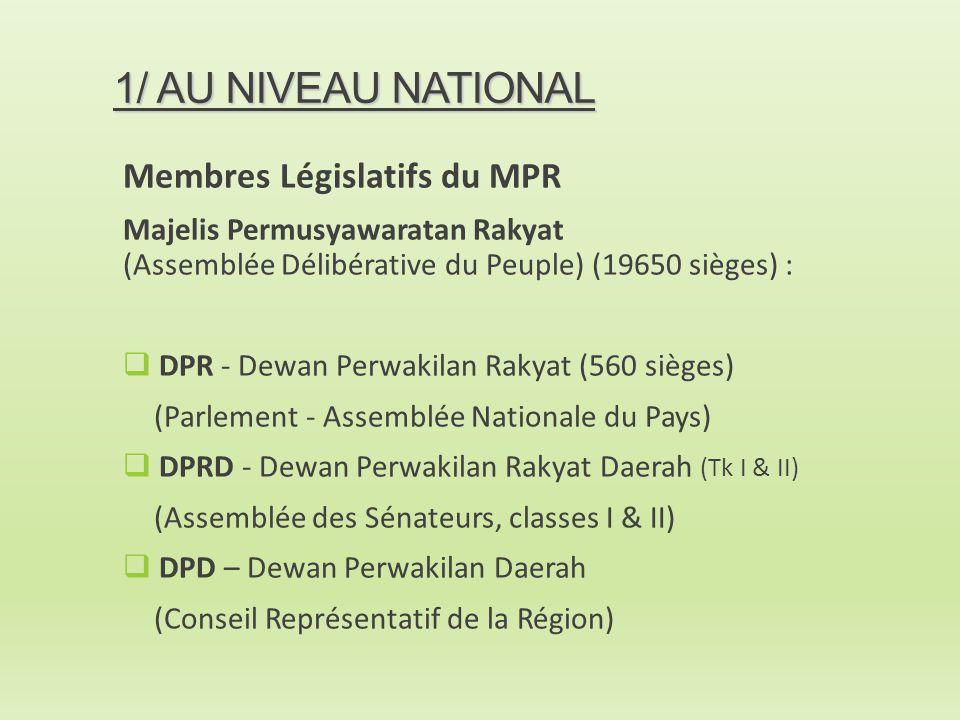 1/ AU NIVEAU NATIONAL Membres Législatifs du MPR Majelis Permusyawaratan Rakyat (Assemblée Délibérative du Peuple) (19650 sièges) :  DPR - Dewan Perw
