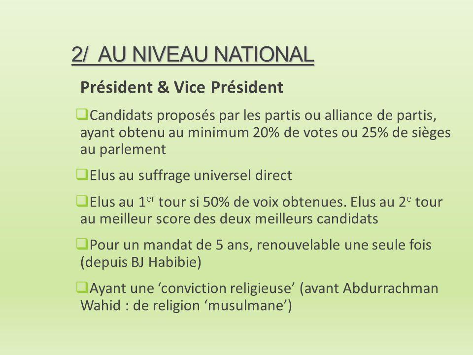 2/ AU NIVEAU NATIONAL Président & Vice Président  Candidats proposés par les partis ou alliance de partis, ayant obtenu au minimum 20% de votes ou 25