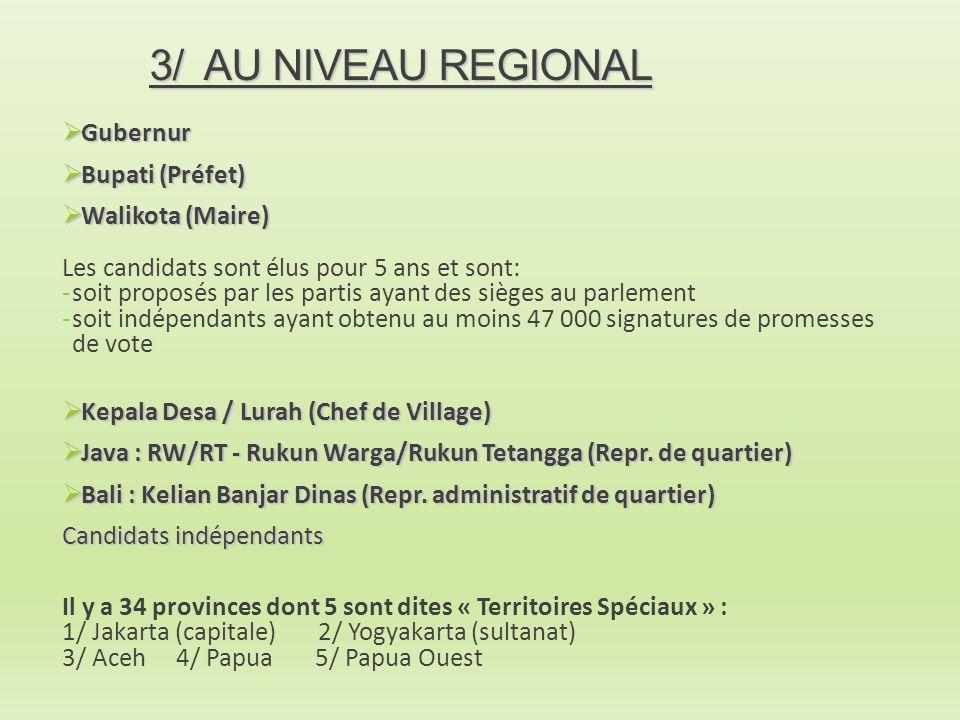 3/ AU NIVEAU REGIONAL  Gubernur  Bupati (Préfet)  Walikota (Maire) Les candidats sont élus pour 5 ans et sont: -soit proposés par les partis ayant