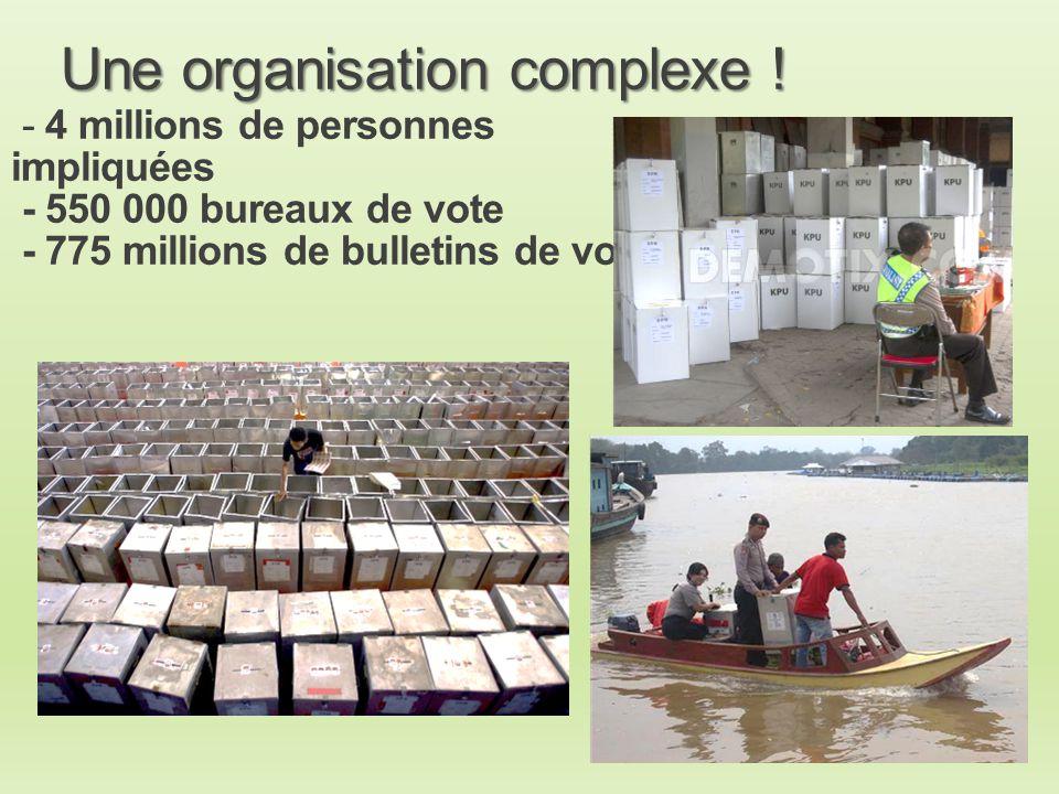 - 4 millions de personnes impliquées - 550 000 bureaux de vote - 775 millions de bulletins de vote Une organisation complexe ! Une organisation comple