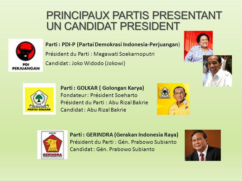 PRINCIPAUX PARTIS PRESENTANT UN CANDIDAT PRESIDENT Parti : PDI-P (Partai Demokrasi Indonesia-Perjuangan) Président du Parti : Megawati Soekarnoputri C