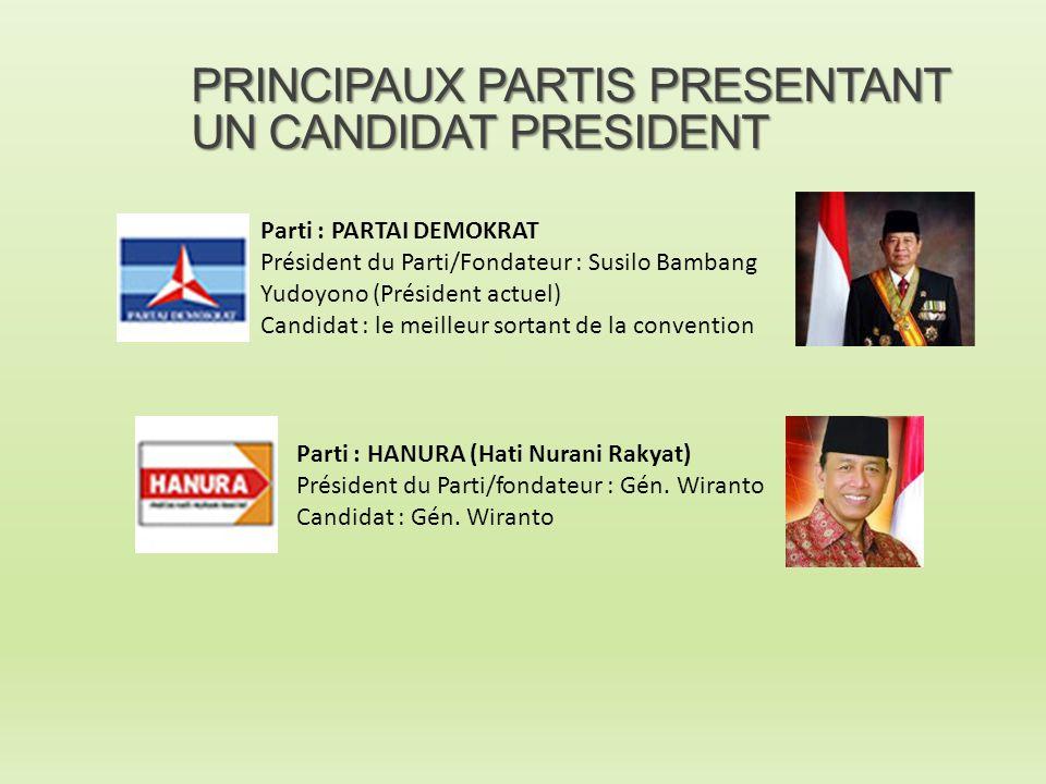 PRINCIPAUX PARTIS PRESENTANT UN CANDIDAT PRESIDENT Parti : PARTAI DEMOKRAT Président du Parti/Fondateur : Susilo Bambang Yudoyono (Président actuel) C