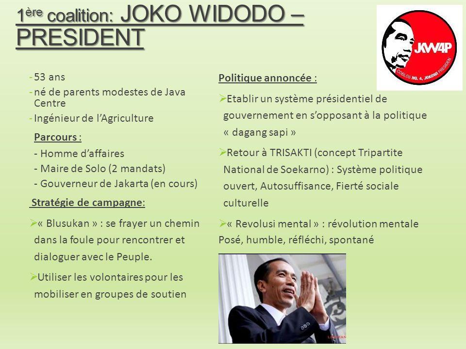 1 ère coalition: JOKO WIDODO – PRESIDENT -53 ans -né de parents modestes de Java Centre -Ingénieur de l'Agriculture Parcours : - Homme d'affaires - Ma
