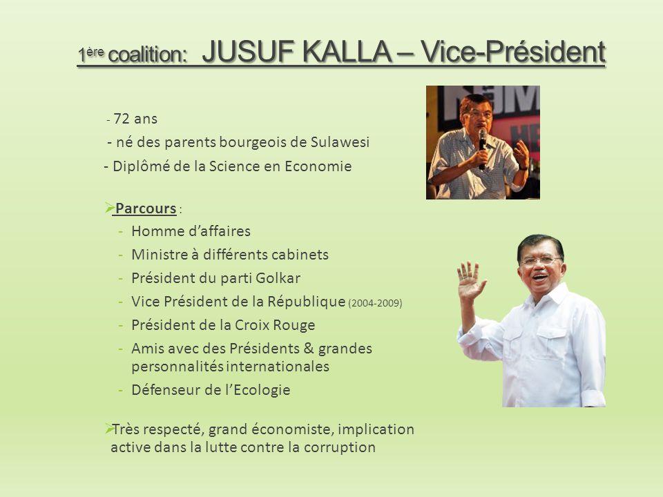 1 ère coalition: JUSUF KALLA – Vice-Président - 72 ans - né des parents bourgeois de Sulawesi - Diplômé de la Science en Economie  Parcours : -Homme