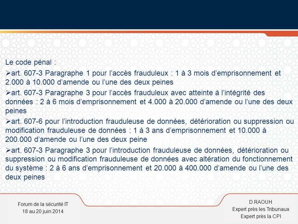 D.Raouh Le code pénal :  art. 607-3 Paragraphe 1 pour l'accès frauduleux : 1 à 3 mois d'emprisonnement et 2.000 à 10.000 d'amende ou l'une des deux p