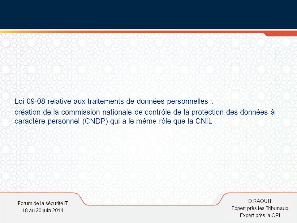 D.Raouh Loi 09-08 relative aux traitements de données personnelles : création de la commission nationale de contrôle de la protection des données à ca