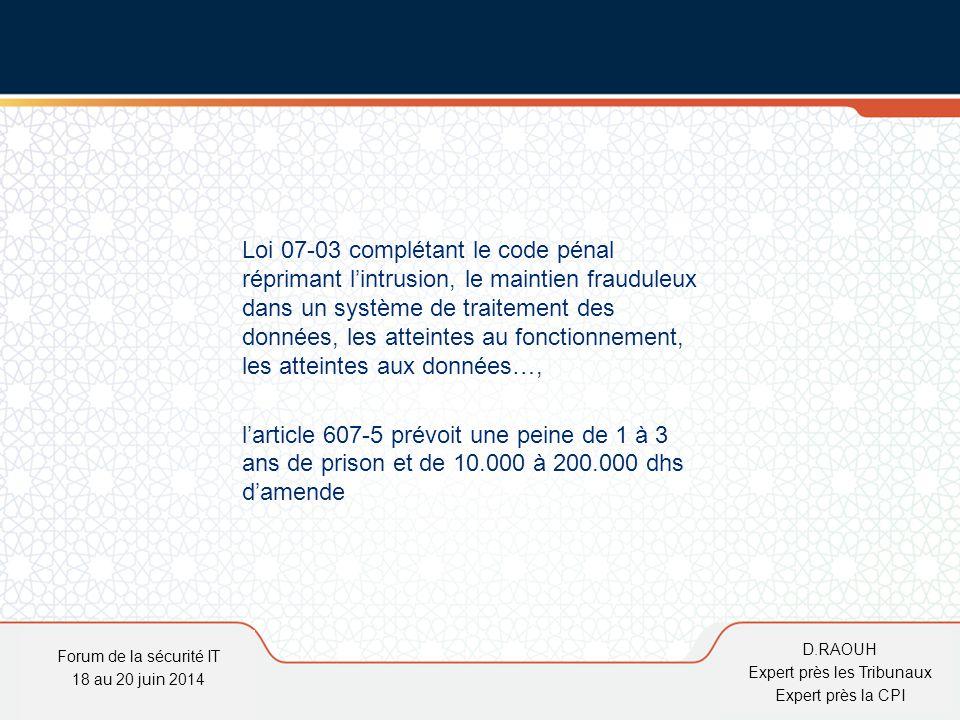 D.Raouh Loi 07-03 complétant le code pénal réprimant l'intrusion, le maintien frauduleux dans un système de traitement des données, les atteintes au f