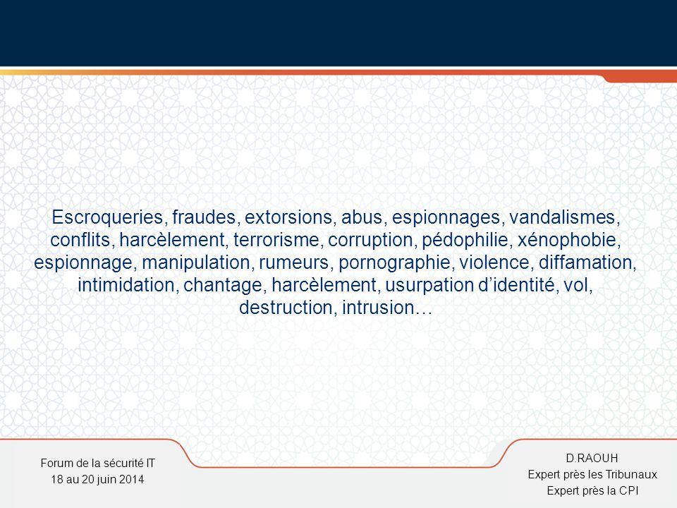 D.Raouh Les technologies de l'informations et de la communication :  Cible de la malveillance  Moyens pour commettre des actions illicites Internet facilitateur Forum de la sécurité IT 18 au 20 juin 2014 D.RAOUH Expert près les Tribunaux Expert près la CPI