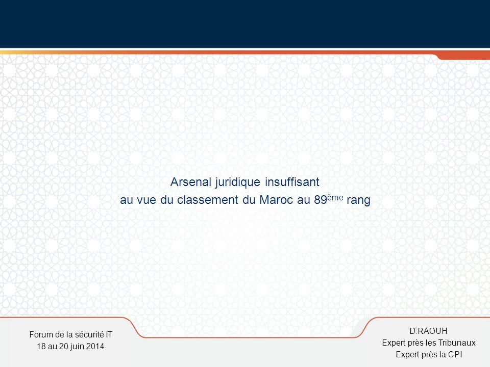 D.Raouh Arsenal juridique insuffisant au vue du classement du Maroc au 89 ème rang Forum de la sécurité IT 18 au 20 juin 2014 D.RAOUH Expert près les
