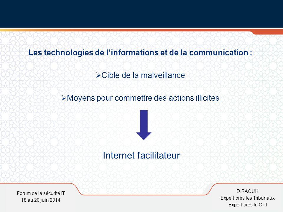 D.Raouh Les technologies de l'informations et de la communication :  Cible de la malveillance  Moyens pour commettre des actions illicites Internet