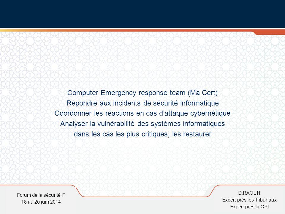 D.Raouh Computer Emergency response team (Ma Cert) Répondre aux incidents de sécurité informatique Coordonner les réactions en cas d'attaque cybernéti
