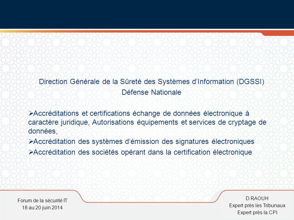 D.Raouh Direction Générale de la Sûreté des Systèmes d'Information (DGSSI) Défense Nationale  Accréditations et certifications échange de données éle