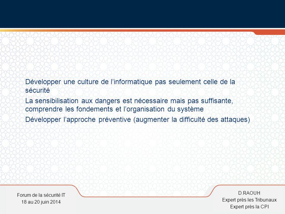 D.Raouh Développer une culture de l'informatique pas seulement celle de la sécurité La sensibilisation aux dangers est nécessaire mais pas suffisante,