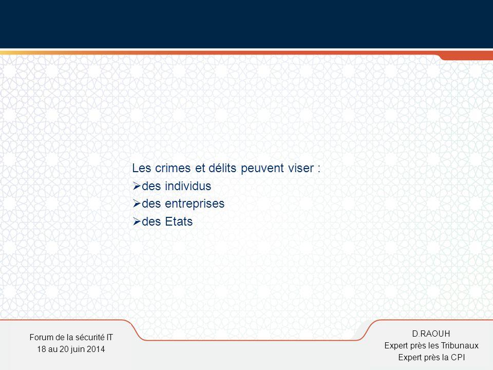 D.Raouh Les crimes et délits peuvent viser :  des individus  des entreprises  des Etats Forum de la sécurité IT 18 au 20 juin 2014 D.RAOUH Expert p