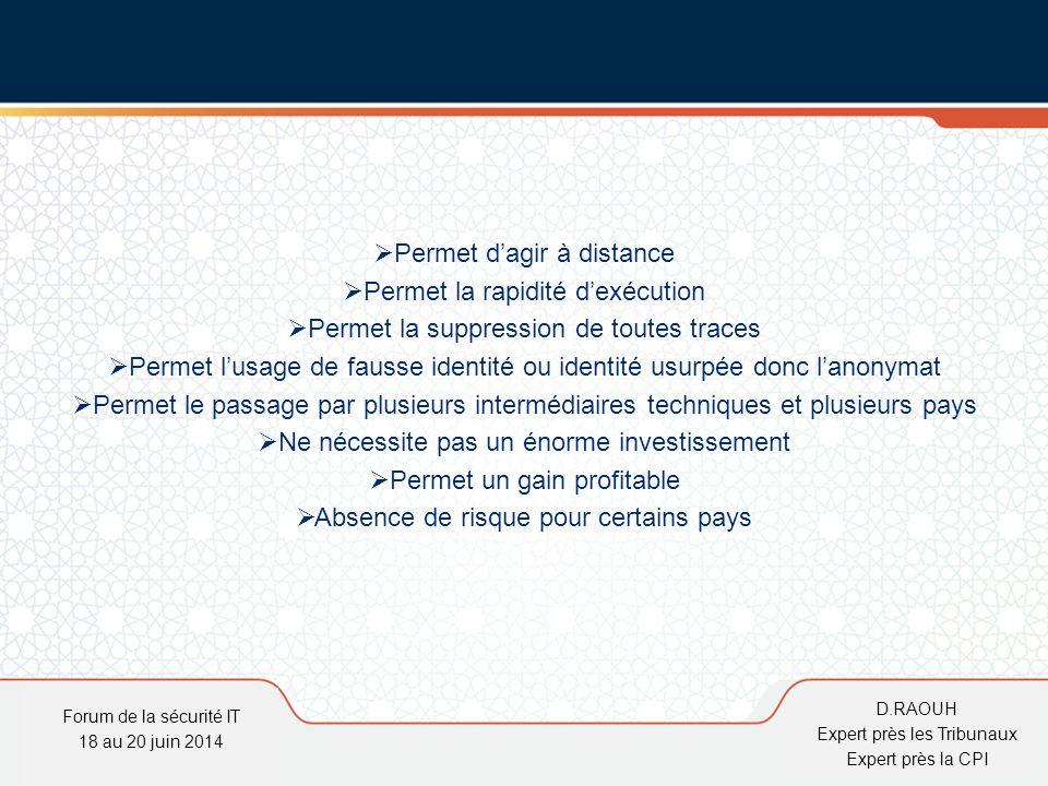 D.Raouh  Permet d'agir à distance  Permet la rapidité d'exécution  Permet la suppression de toutes traces  Permet l'usage de fausse identité ou id