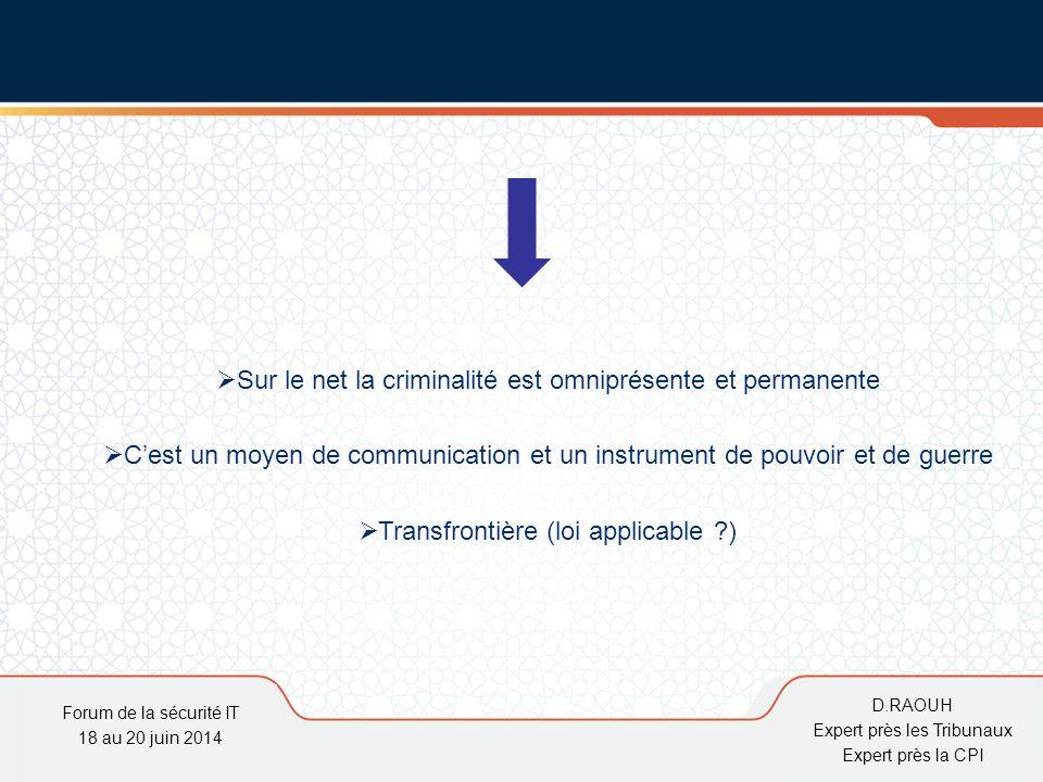 D.Raouh Loi 09-08 relative aux traitements de données personnelles : création de la commission nationale de contrôle de la protection des données à caractère personnel (CNDP) qui a le même rôle que la CNIL Forum de la sécurité IT 18 au 20 juin 2014 D.RAOUH Expert près les Tribunaux Expert près la CPI