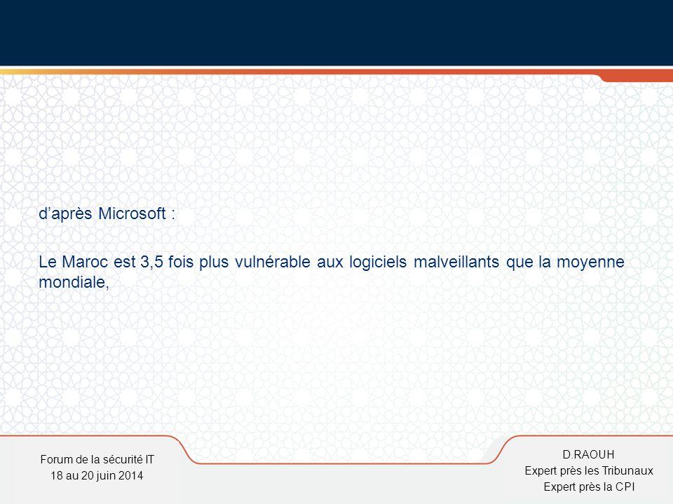 D.Raouh d'après Microsoft : Le Maroc est 3,5 fois plus vulnérable aux logiciels malveillants que la moyenne mondiale, Forum de la sécurité IT 18 au 20