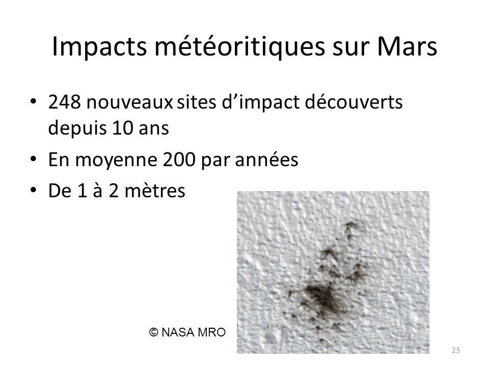 Impacts météoritiques sur Mars 248 nouveaux sites d'impact découverts depuis 10 ans En moyenne 200 par années De 1 à 2 mètres 23 © NASA MRO