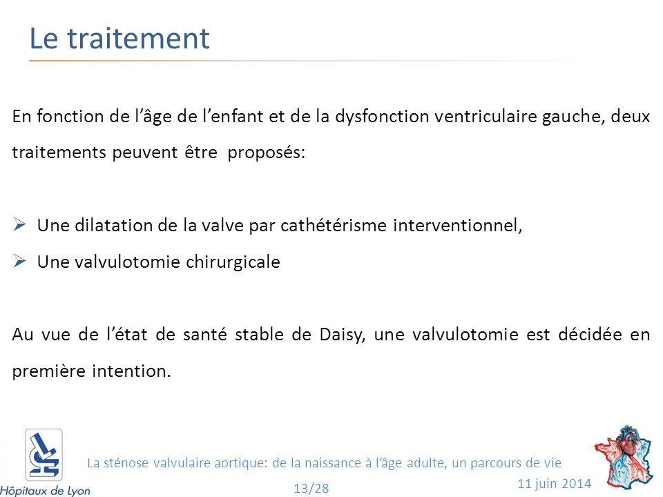Le traitement 11 juin 2014 13/28 En fonction de l'âge de l'enfant et de la dysfonction ventriculaire gauche, deux traitements peuvent être proposés: 