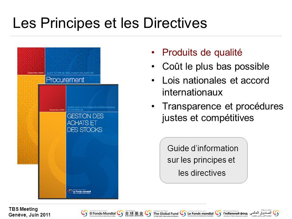 TBS Meeting Genève, Juin 2011 Les Principes et les Directives Produits de qualité Coût le plus bas possible Lois nationales et accord internationaux T