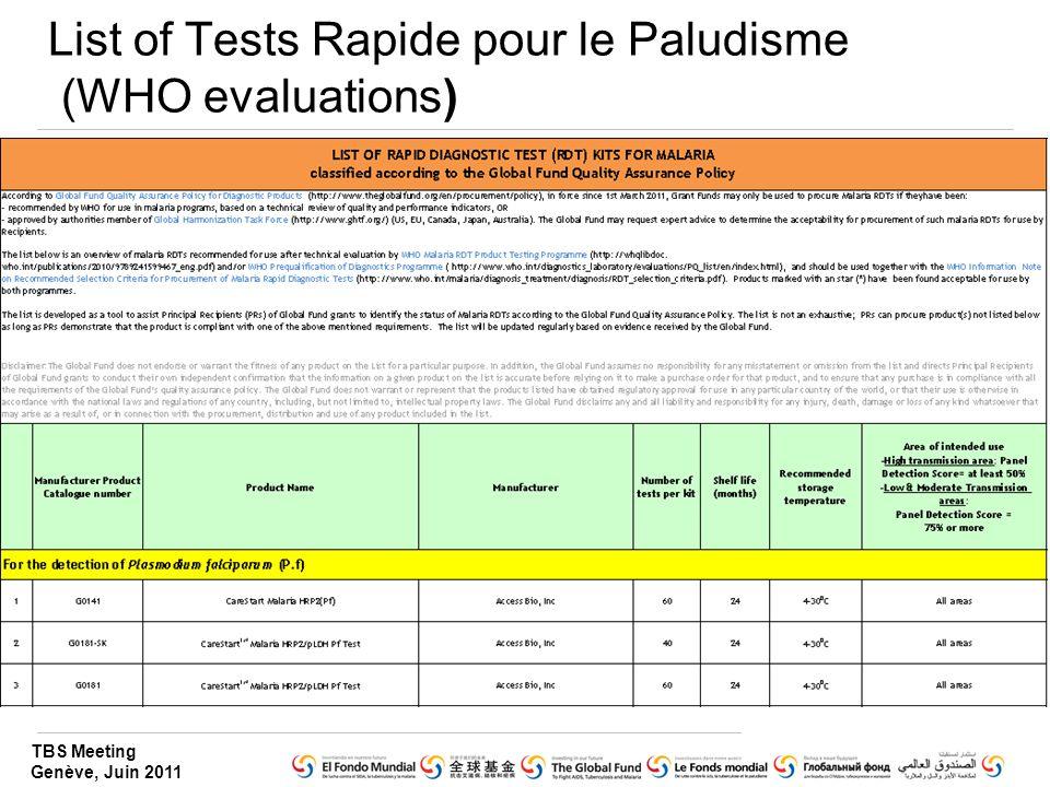TBS Meeting Genève, Juin 2011 List of Tests Rapide pour le Paludisme (WHO evaluations)