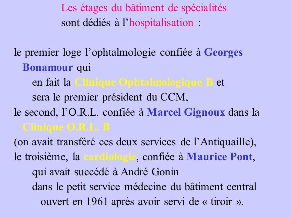 Les étages du bâtiment de spécialités sont dédiés à l'hospitalisation : le premier loge l'ophtalmologie confiée à Georges Bonamour qui en fait la Clinique Ophtalmologique B et sera le premier président du CCM, le second, l'O.R.L.