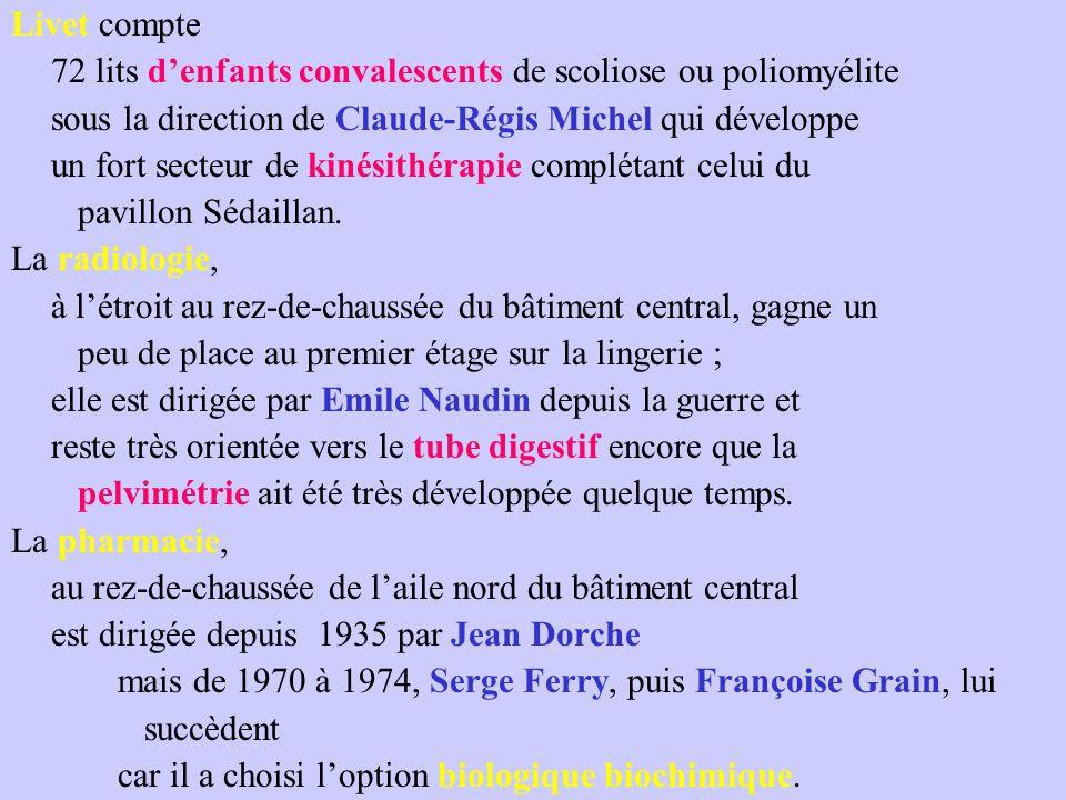 Livet compte 72 lits d'enfants convalescents de scoliose ou poliomyélite sous la direction de Claude-Régis Michel qui développe un fort secteur de kinésithérapie complétant celui du pavillon Sédaillan.