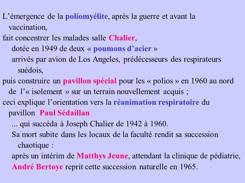 L'émergence de la poliomyélite, après la guerre et avant la vaccination, fait concentrer les malades salle Chalier, dotée en 1949 de deux « poumons d'