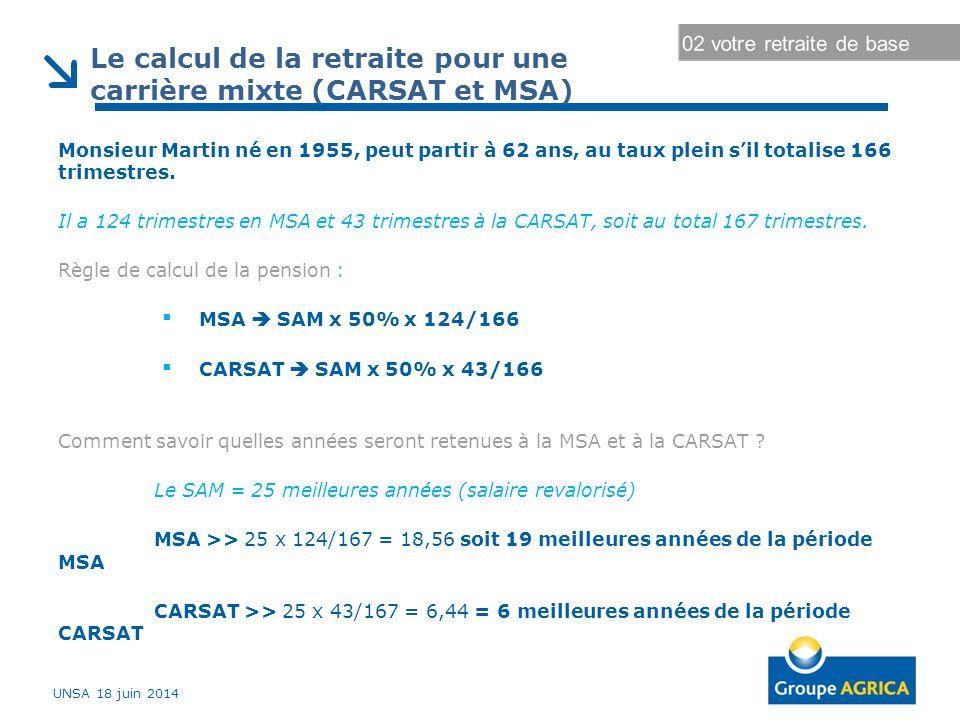 Monsieur Martin né en 1955, peut partir à 62 ans, au taux plein s'il totalise 166 trimestres. Il a 124 trimestres en MSA et 43 trimestres à la CARSAT,