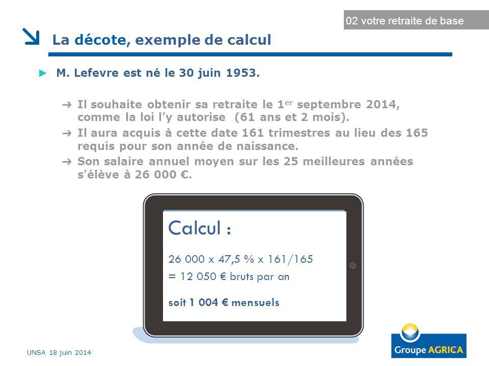 Durée d'assurance au régime général Durée d'assurance maximale 17 02 votre retraite de base La décote, exemple de calcul ► M.