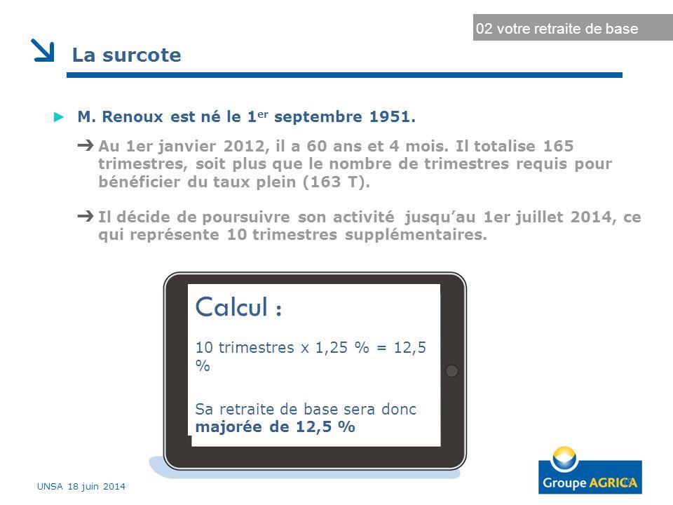 Durée d'assurance au régime général Durée d'assurance maximale 19 02 votre retraite de base La surcote ► M. Renoux est né le 1 er septembre 1951. ➔ Au