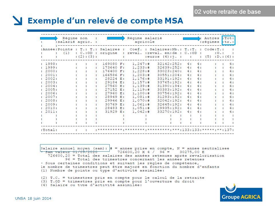 5 Exemple d'un relevé de compte MSA 02 votre retraite de base UNSA 18 juin 2014