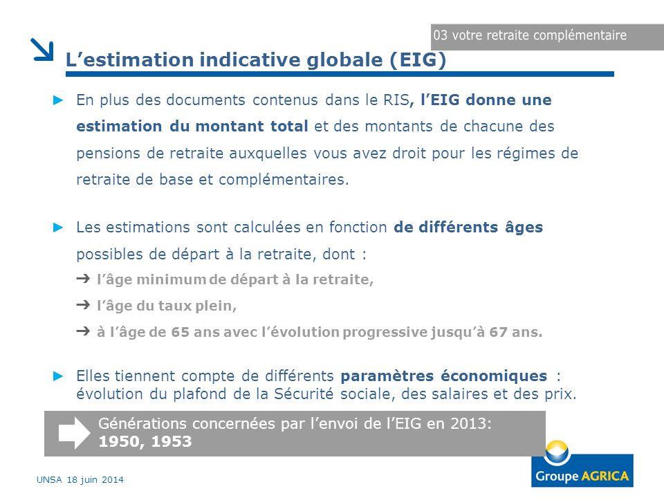 ► En plus des documents contenus dans le RIS, l'EIG donne une estimation du montant total et des montants de chacune des pensions de retraite auxquelles vous avez droit pour les régimes de retraite de base et complémentaires.