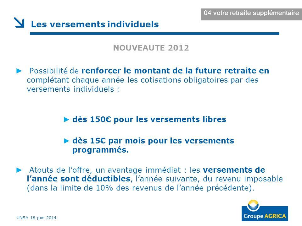NOUVEAUTE 2012 ► Possibilité de renforcer le montant de la future retraite en complétant chaque année les cotisations obligatoires par des versements