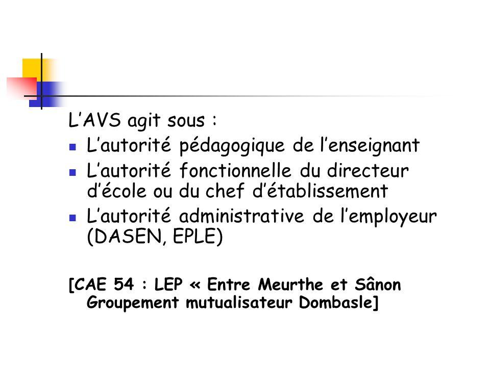 L'AVS agit sous : L'autorité pédagogique de l'enseignant L'autorité fonctionnelle du directeur d'école ou du chef d'établissement L'autorité administrative de l'employeur (DASEN, EPLE) [CAE 54 : LEP « Entre Meurthe et Sânon Groupement mutualisateur Dombasle]